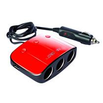 先科 SAST 带开关一拖三点烟器 汽车双USB一分三电源转换器 车载充电器 一拖三红+三合一充电线产品图片主图