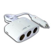 先科 SAST 带开关一拖三点烟器 汽车双USB一分三电源转换器 车载充电器  一拖三白+三合一充电线