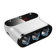 先科 T12点烟器一分三车载电源双USB充电器 带开关测电压一拖三点烟器车充 白色