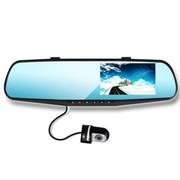 平行线 后视镜汽车行车记录仪D005 双镜头高清夜视4.3英寸 循环录影 双镜头+16G卡 送监控线