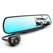 君易达 J13后视镜双镜头行车记录仪  170度广角 4.3寸大屏防眩光  超高清1080P 蓝镜前后双镜头4.3寸 16G卡+24小时监控