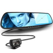尼卡福 首创真双高清 汽车后视镜行车记录仪 双镜头高清1080P 300°广角超强夜视 N3双高清+16G卡+停车监控