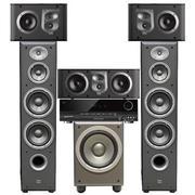 JBL E80BK+E10BK+ES25CBK+E150PBK+AVR 70C 5.1家庭影院套装ES系列 (黑色)