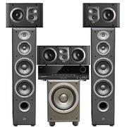 JBL E90BK+ES10BK+ES25CBK+E150PBK+AVR70C 5.1家庭影院ES系列 (黑色)