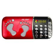 先科 迷你数码播放器CDA-919 MP3插卡音箱便携式迷你音乐播放器外放老人小音响收音机 红色标配无内存