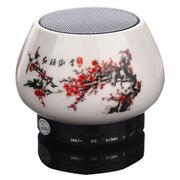 爱玛科 便携无线插卡蓝牙音箱 迷你陶瓷工艺小音响 AI-T13 红梅傲雪