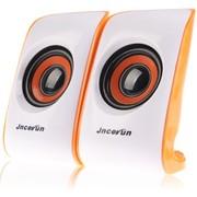 杰科瑞 JS-U60 白橙色 仰角设计 便携小巧 笔记本音响 电脑音响 2.0USB多媒体音响