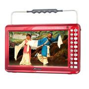 金正 13寸看戏机唱戏机M22B 高清视频播放器全格式可插U盘TF卡 大功率扩音器广场舞音箱 红色+8G戏曲广场舞视频卡
