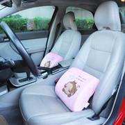 悠嘻猴 记忆棉腰靠护腰垫靠垫枕汽车腰靠车用办公室靠垫 方形粉红色