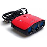 先科 SAST点烟器一分三 车载充电器双USB 点烟器车载电源 点烟器扩展T11 红色