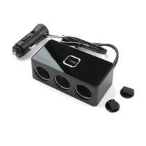 FOURING 车用车载点烟器一分三一拖三充电器扩展转换插座带USB 12V-24V通用 一拖三带线产品图片主图