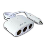 先科 带开关一拖三点烟器 双USB车载充电器 一分三分配器转换器