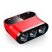先科 T12点烟器一分三车载电源双USB充电器 带开关测电压一拖三点烟器车充 红色