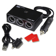 英才星 车充点烟器一拖三带独立开关的一分三 车载双USB带电压检测汽车充电器 白色YC-408(不带数据线)