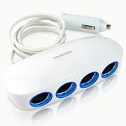 奥舒尔 E-DX4S带开关一拖四点烟器 双USB车载充电器汽车电源转换插座车充