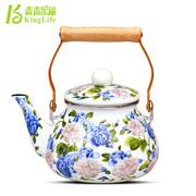 青青乐福 1.5L特惠出口珐琅瓷韩国花冷水壶凉茶壶 搪瓷烧水壶茶壶专柜正品红花 蓝花