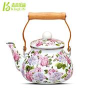 青青乐福 1.5L特惠出口珐琅瓷韩国花冷水壶凉茶壶 搪瓷烧水壶茶壶专柜正品红花 红花