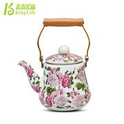 青青乐福 韩国搪瓷凉水壶冷水壶凉茶壶 出口珐琅瓷烧水壶茶壶专柜正品特价红花 红花