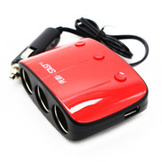 先科 万能车载充电器 一分三点烟器 一拖三车载电源插座 双USB车充 红色