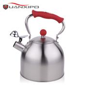 HUANXIPO 不锈钢小水壶烧水壶煤气电磁炉通用鸣笛水壶响水壶3l 红色