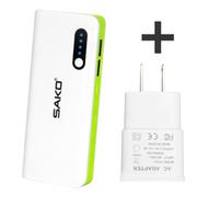 三科 E5 11000毫安大容量移动电源适用于三星华为苹果小米安卓手机平板通用充电宝 苹果绿+S系列充电头