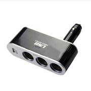 先科 车用车载点烟器一分三一拖三充电器扩展转换插座带USB 12V-5V通用