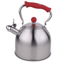 HUANXIPO 德国工艺加厚304不锈钢烧水壶3L升复底煮水壶鸣音壶燃气电磁炉通用 红手柄 3升水壶产品图片主图