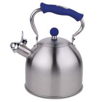 HUANXIPO 德国工艺加厚304不锈钢烧水壶3L升复底煮水壶鸣音壶燃气电磁炉通用 蓝手柄 3升水壶产品图片主图