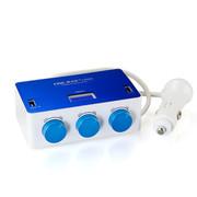 英才星 一拖三车用点烟器分配器 带开关 USB 电压显示 YC-434 蓝白