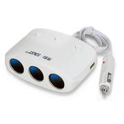 先科 T11 双USB带开关一分三电源分配器 一拖三点烟器 车载充电器 白色
