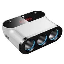 先科 点烟器 一分三 一拖三 电压检测 AY-T12 白色产品图片主图