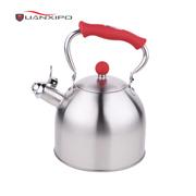 HUANXIPO 加厚304不锈钢复底水壶烧水壶煤气灶电磁炉通用鸣音水壶响水壶小水壶  红色手柄水壶