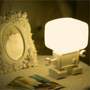 酷博 智能机器人光声控小夜灯 自动感光 造型超萌可爱 黄/白光 送礼佳品 白色