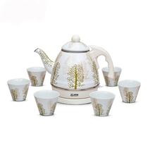 青青乐福 搪瓷1.0L电水壶水杯套装 写意水杉 出口珐琅瓷电水壶送礼套装产品图片主图