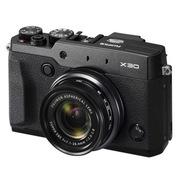 富士 X30 黑色 高端紧凑型数码相机  2/3英寸 CMOS (去低通) 236万EVF 3.0英寸翻折屏 Wi-Fi拍摄