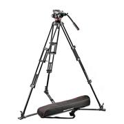 曼富图 MVH502A+546GB-1地置液压摄像专用三脚架套装 自带三脚架包 黑色