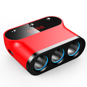先科 带开关测电压车载一拖三点烟器 一分三转换器 汽车充电器usb 升级款绚丽红