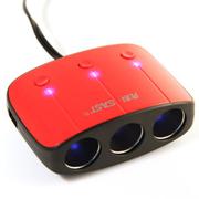 先科 带开关测电压车载一拖三点烟器 一分三转换器 汽车充电器usb 经典款绚丽红