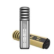 wisebrave 手机唱吧电容麦克风话筒电脑录音K歌 声卡录音设备安卓苹果通用 银色