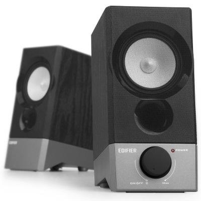 漫步者 R19U 木质纯音2.0迷你桌面音响 黑色产品图片1