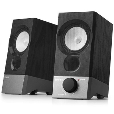 漫步者 R19U 木质纯音2.0迷你桌面音响 黑色产品图片2