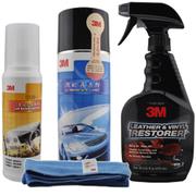 3M 汽车内饰皮革清洁护理剂 真皮去污上光剂 内饰清洁保养4件套