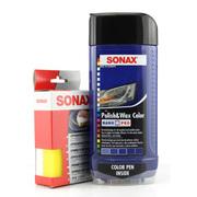 索纳克斯 汽车特级纳米抛光护理色蜡(液体蜡 蓝色-500ML)海绵擦套装