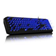 魔蝶 M100 三色背光游戏键盘 机械手感 防水设计 人体工学键帽 激光刻字 可调节背光 蓝色