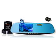 菲特安 S2+ 后视镜行车记录仪电子狗分体机前后双镜头 高清1080P记录仪倒车后视精准测速 官方标配
