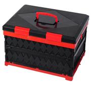 安马 可折叠多功能汽车后备箱储物箱车用居家收纳置物箱杂物整理箱 黑色 45L