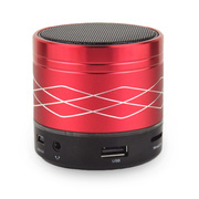 YEMEKE 无线蓝牙音箱插卡小音响可插U盘蓝牙音响 波浪纹低音炮台式电脑迷你便携 红色
