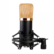 喜木 麦克风 广播录音录歌电容麦 录音室专用话筒  电脑主播必备套装 黑色金色网头