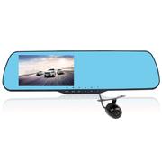 凯迪龙 E303 行车记录仪 电子狗一体机 后视镜双镜头 高清1080P限速超速提醒广角夜视 E302-双镜头-蓝镜-无卡