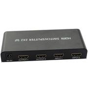 IT-CEO V7XF04 二进二出HDMI分配器 2X2智能切换器 2进2出高清分屏器 配遥控器和电源适配器 黑色